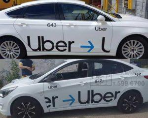 наклейки убер uber такси, брендирование такси, авто, оклейка такси